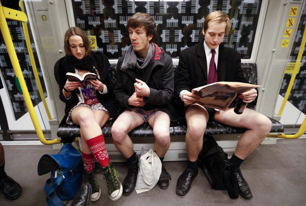 "People without their pants take part in the ""No Pants Subway Ride"" in Berlin"