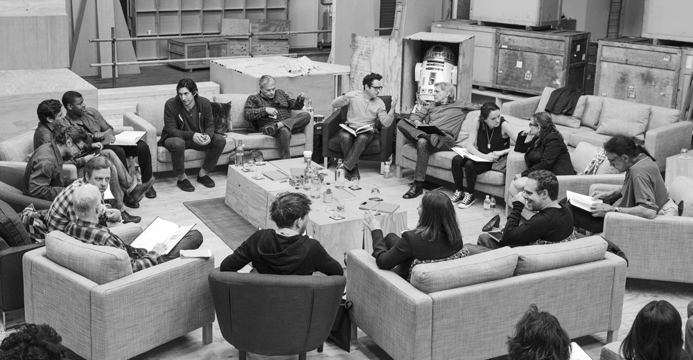 "Publicity photo of cast reading for ""Star Wars: Episode VII"" in Buckinghamshire"