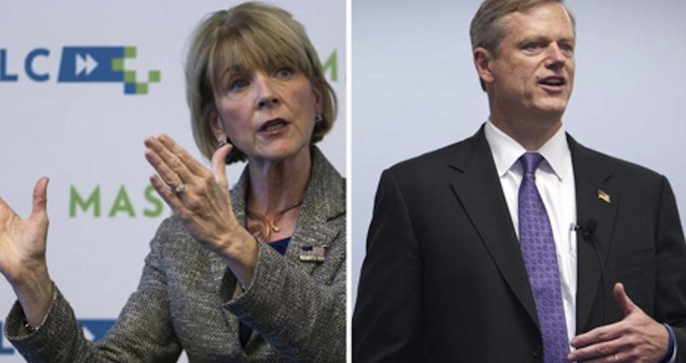 Martha Coakley and Charlie Baker