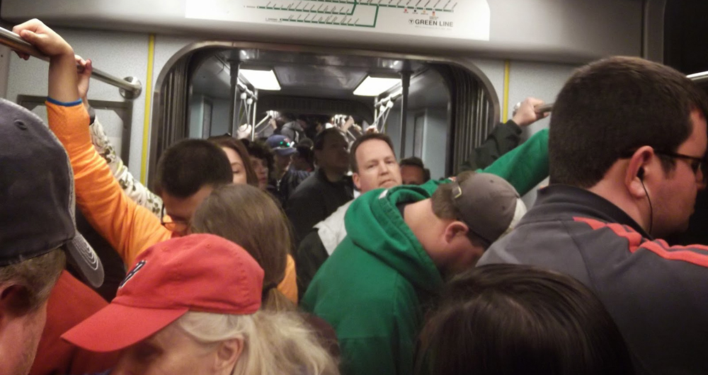 Crowded Green Line Train