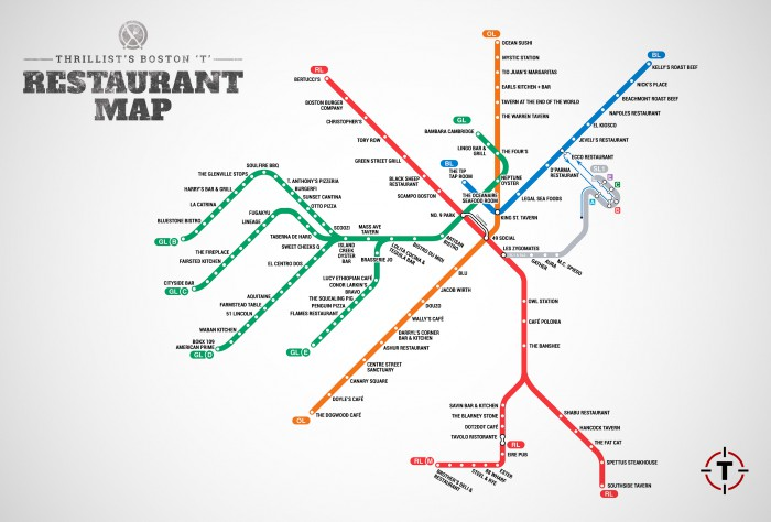 MBTA restaurant map
